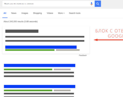 Внедряемся в блок с быстрыми Google-ответами при помощи длиннохвостых запросов